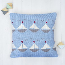 Boats Knitted Cushion