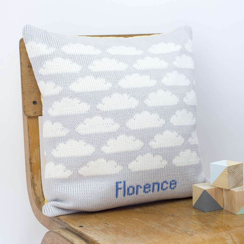 Clouds knitted cushion side view