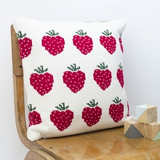 Strawberries knitted cushion