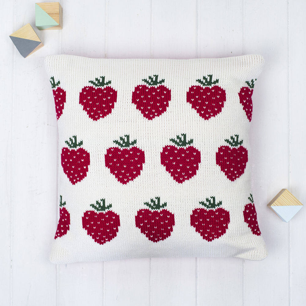 Strawberries knitted cushion personalised