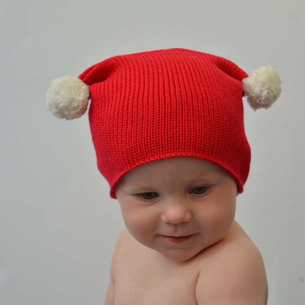 Knitted Christmas Bobble Hat side view