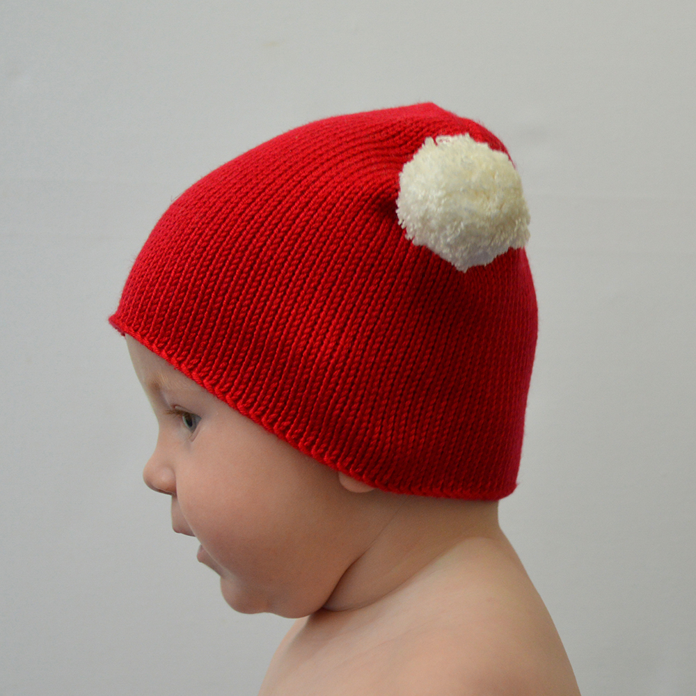 Knitted Christmas Bobble Hat front alt view