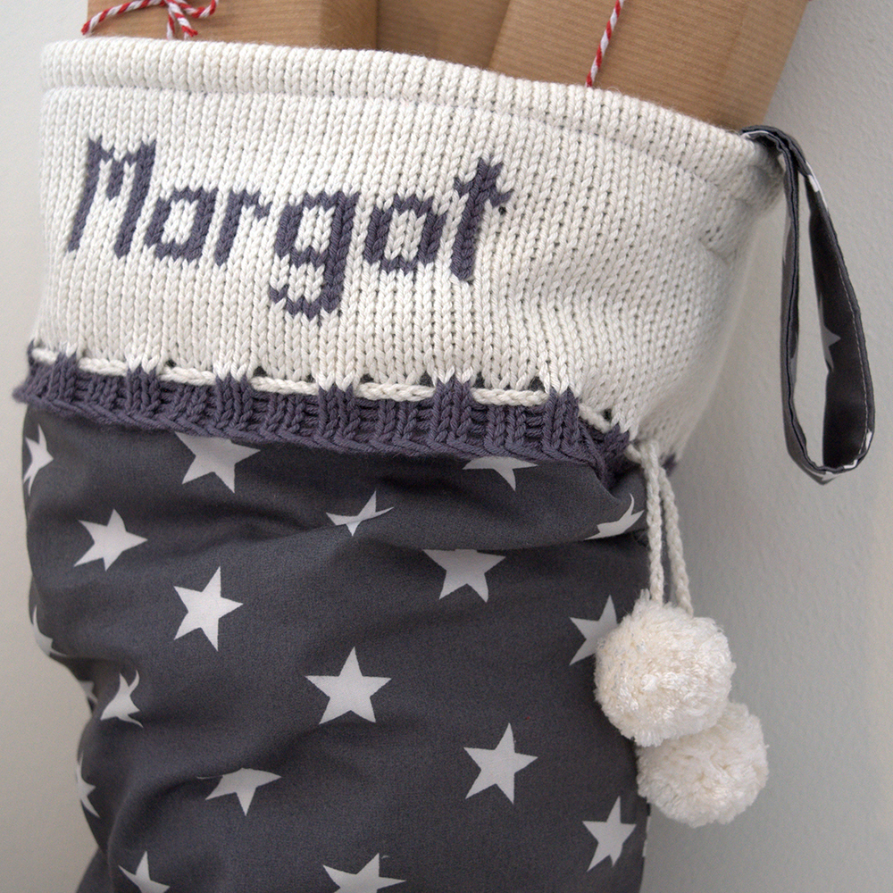 Grey Personalised Knitted Christmas Stocking close up text