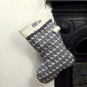 Grey Personalised Knitted Christmas Stocking