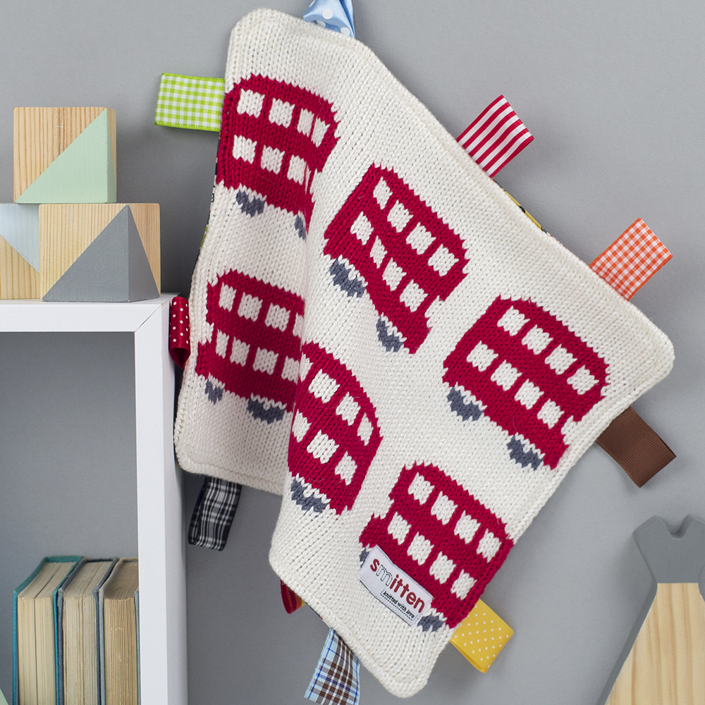 London buses knitted baby comforter