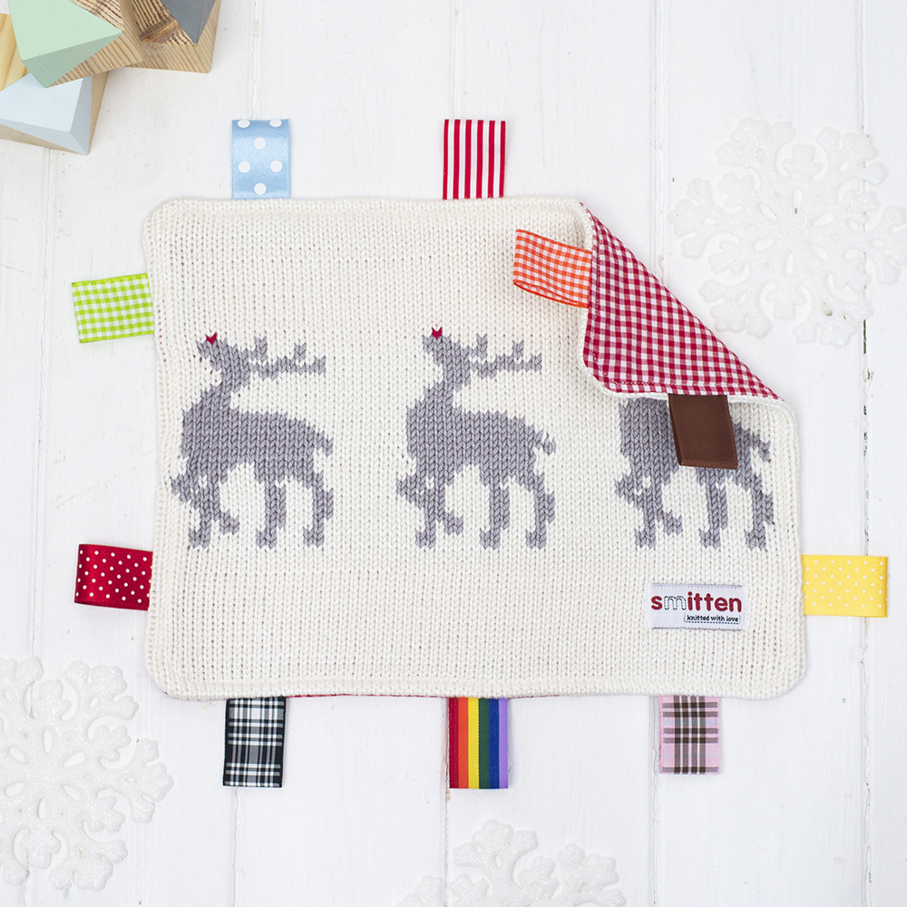 Rudolph Knitted Baby Comforter