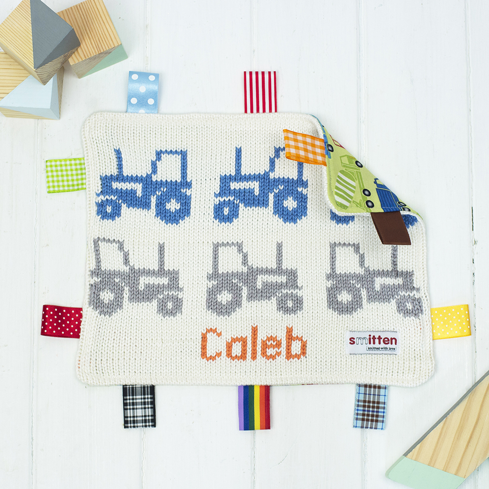 Tractors Knitted Baby Comforter