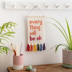 Everything will be ok knitted wall hanging