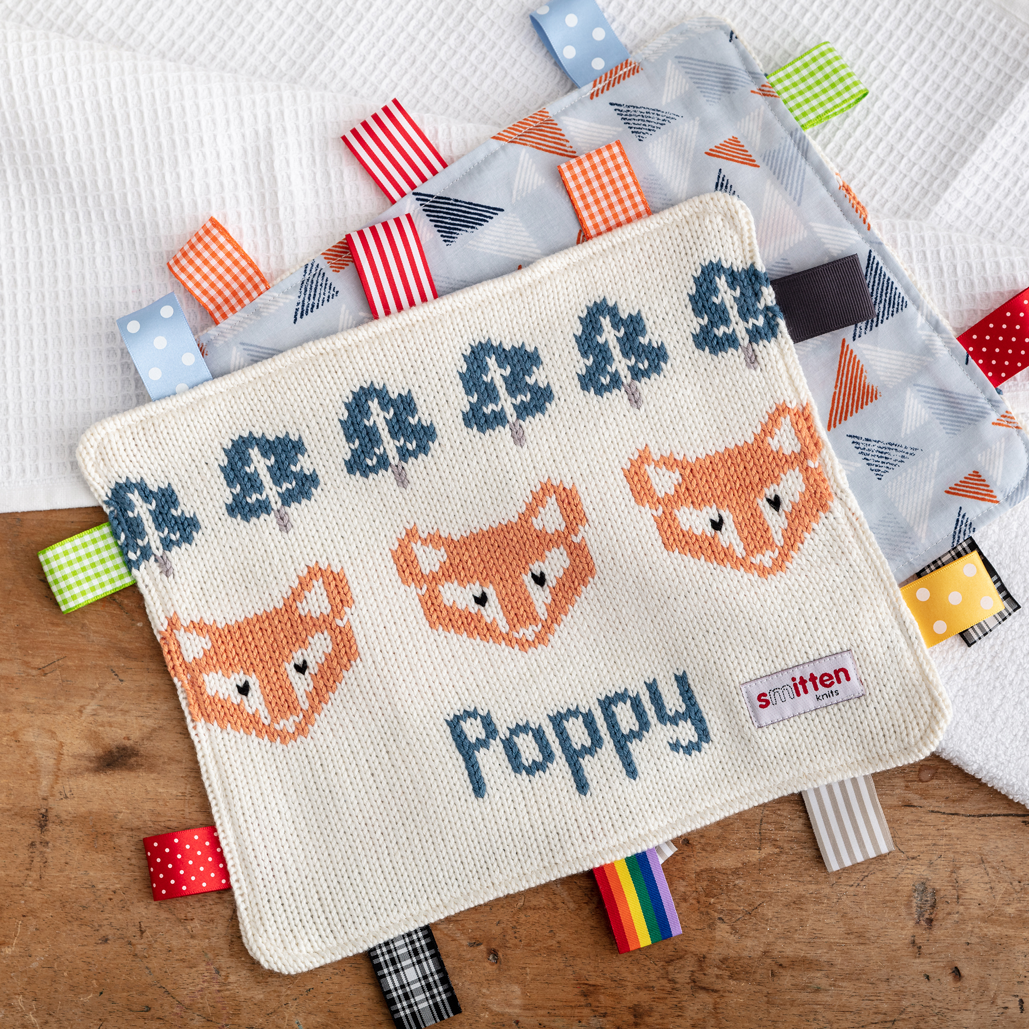 foxes knitted Baby Comforter