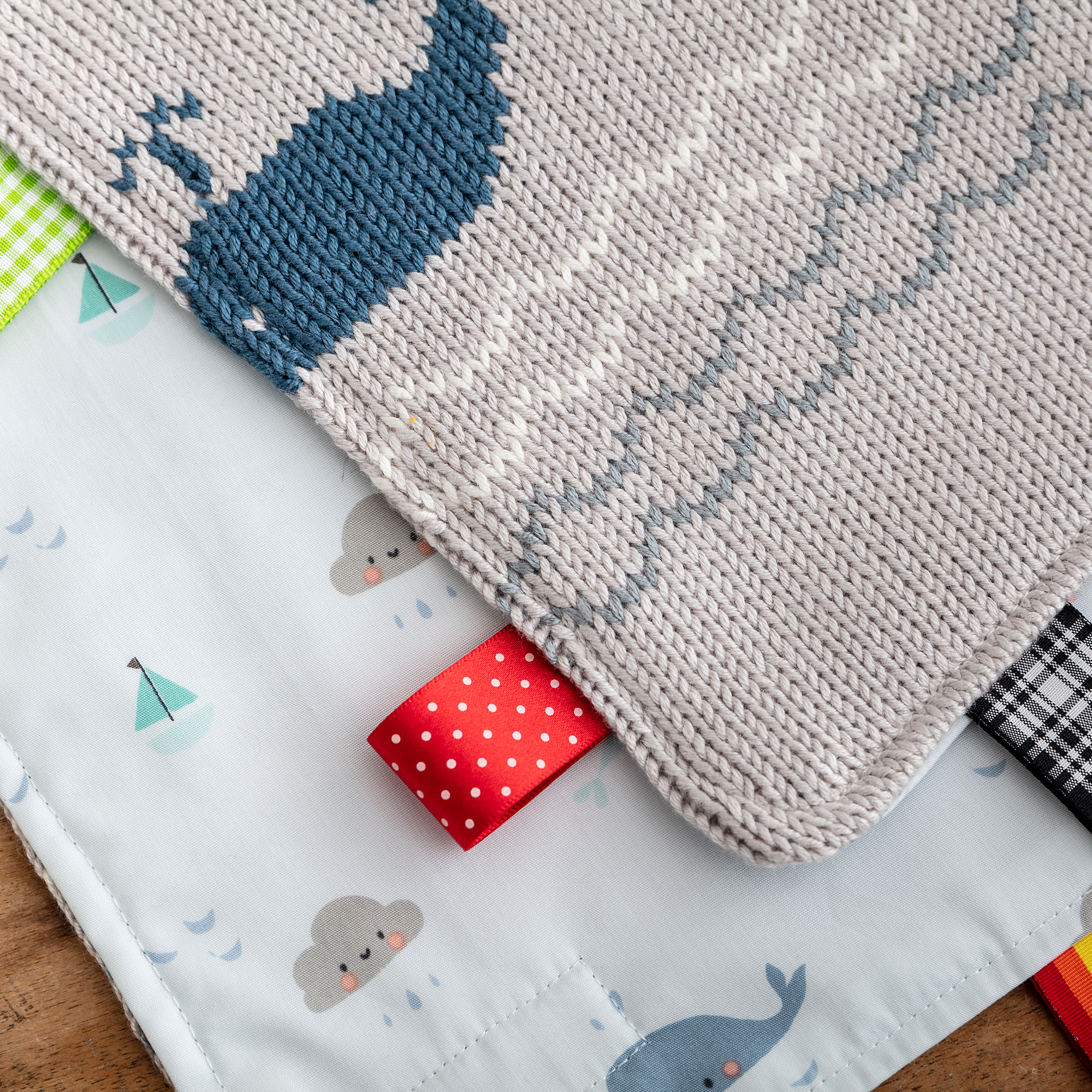 whales knitted Baby Comforter