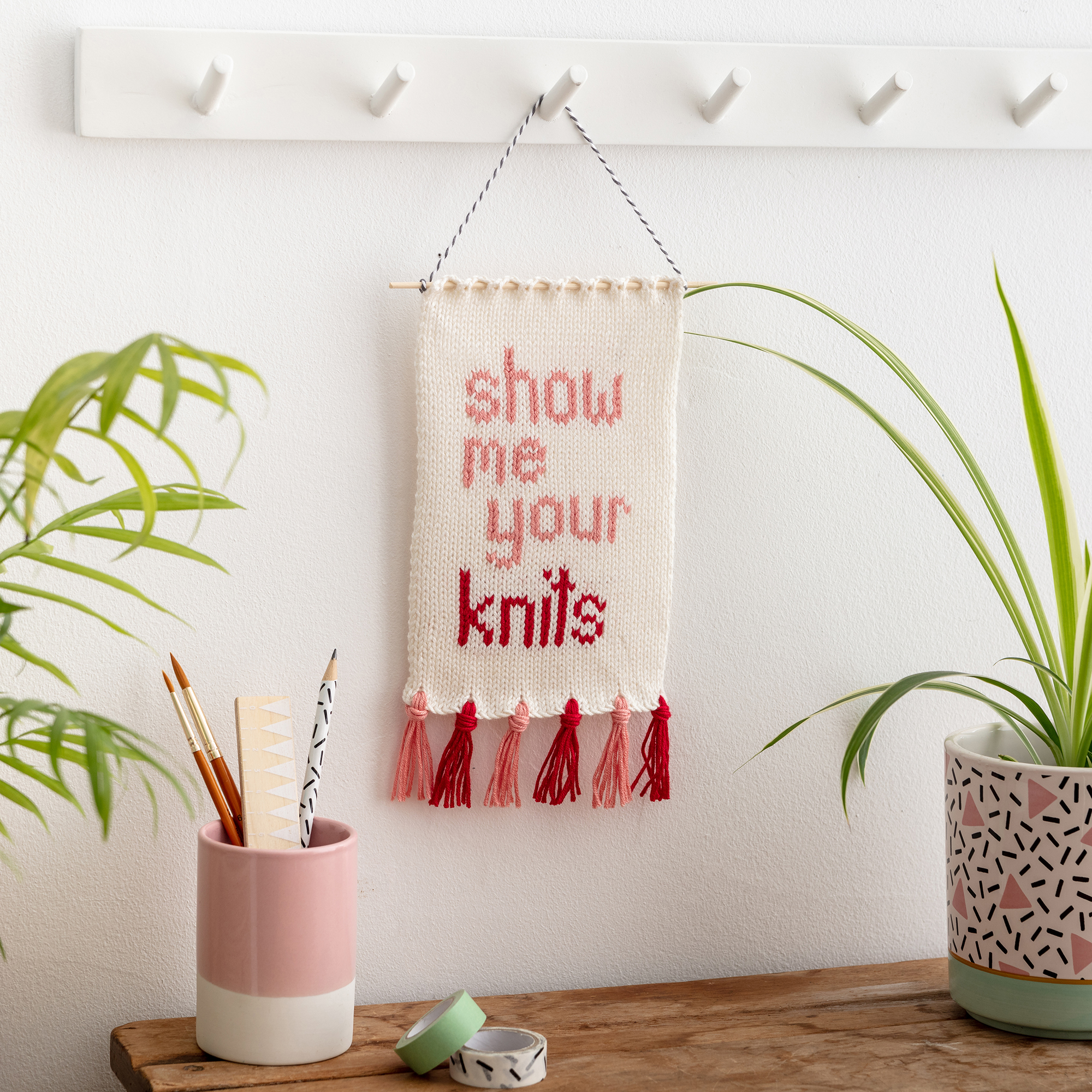 show me your knits knitted wall hanging